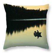 Fisherman At Dusk Throw Pillow by Nancy Harrison