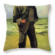 Fisherman On The Beach Throw Pillow by Vincent Van Gogh