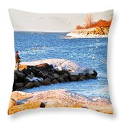 Fishermans Cove Throw Pillow by Frozen in Time Fine Art Photography