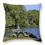 Fishing At Ponce De Leon Springs Fl Throw Pillow by Christine Till