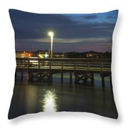 Fishing At Soundside Park In Surf City Throw Pillow by Mike McGlothlen