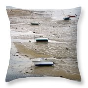 Fishing Boats At Low Tide Throw Pillow by Olivier Le Queinec