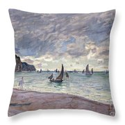 Fishing Boats In Front Of The Beach And Cliffs Of Pourville Throw Pillow by Claude Monet