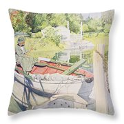 Fishing Throw Pillow by Carl Larsson