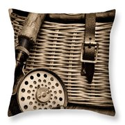 Fishing - Fly Fishing - Black And White Throw Pillow by Paul Ward