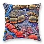 Fishing Gear Throw Pillow by Heidi Smith