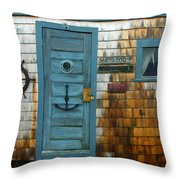 Fishing Hut At Rockport Maritime Throw Pillow by Jon Holiday