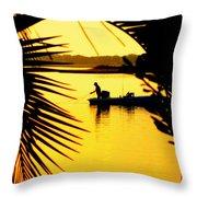 Fishing In Gold Throw Pillow by Karen Wiles