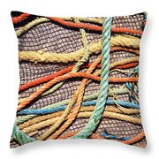 Fishing Ropes And Net Throw Pillow by Carlos Caetano