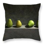 Five Pears Throw Pillow by Cynthia Decker