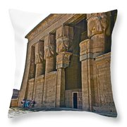 Five Thousand Year Old Temple Of Hathor In Dendera- Egypt Throw Pillow by Ruth Hager
