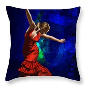 Flamenco Dancer 014 Throw Pillow by Catf