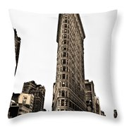Flat Iron Building In Sepia Throw Pillow by Bill Cannon