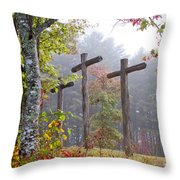 Flax Creek In The Fog Throw Pillow by Debra and Dave Vanderlaan