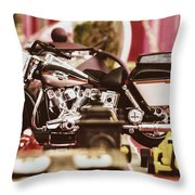 Flea Market Series - Motorcycle Throw Pillow by Marco Oliveira