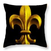 Fleur De Lis In Black And Gold Throw Pillow by Carol Groenen