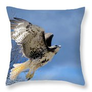 Flight Of The Red Tail Throw Pillow by Bill Wakeley