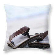Flip-flops On Beach Throw Pillow by Elena Elisseeva