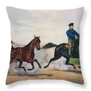 Flora Temple And Lancet Racing On The Centreville Course Throw Pillow by Currier and Ives