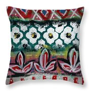 Floral Fiesta- Colorful Pattern Painting Throw Pillow by Linda Woods