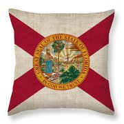 Florida State Flag Throw Pillow by Pixel Chimp