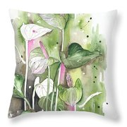 Flower Anthurium 04 Elena Yakubovich Throw Pillow by Elena Yakubovich