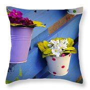 Flower Baskets Throw Pillow by Carlos Caetano