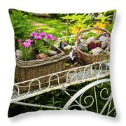 Flower cart in garden Throw Pillow by Elena Elisseeva