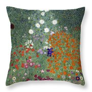 Flower Garden Throw Pillow by Gustav Klimt