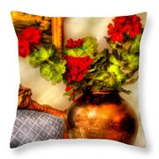 Flower - Geraniums On A Table  Throw Pillow by Mike Savad