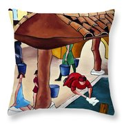 Flower Girl And Tile Roof Throw Pillow by William Cain