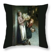 Flower Girls A Summer Night Throw Pillow by Augustus Edwin Mulready