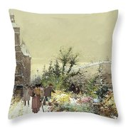 Flower Market Marche aux Fleurs Throw Pillow by Eugene Galien-Laloue