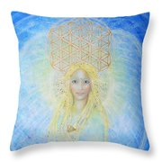 Flower Of Life Angel Throw Pillow by Lila Violet