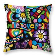 Flower Power Throw Pillow by Tim Gainey