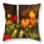 Flower - Tulip - Tulips In A Window Throw Pillow by Mike Savad