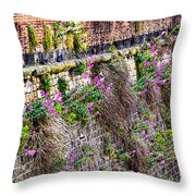 Flower Wall Along The Arno River- Florence Italy Throw Pillow by Jon Berghoff