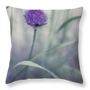 Flowering Chive Throw Pillow by Priska Wettstein
