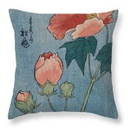 Flowering Poppies Tanzaku Throw Pillow by Ando Hiroshige