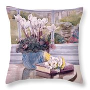 Flowers And Book On Table Throw Pillow by Julia Rowntree