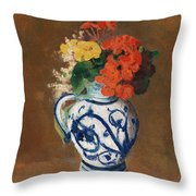 Flowers In A Blue Vase Throw Pillow by Odilon Redon