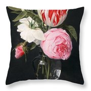 Flowers In A Glass Vase Throw Pillow by Daniel Seghers