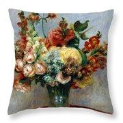 Flowers in a Vase Throw Pillow by Pierre-Auguste Renoir