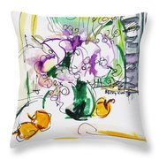 Flowers in Green Vase Throw Pillow by Becky Kim