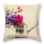 Flowers In Watering Can Throw Pillow by Edward Fielding
