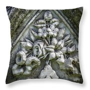 Flowers On A Grave Stone Throw Pillow by Edward Fielding