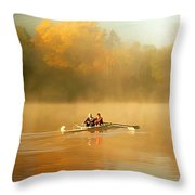 Foggy Morning On The Chattahoochee Throw Pillow by Darren Fisher
