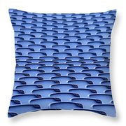Folding Plastic Blue Seats Throw Pillow by Dutourdumonde Photography
