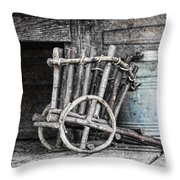 Folk Art Cart Still Life Throw Pillow by Tom Mc Nemar