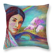 Following The Rainbow Throw Pillow by Jane Small